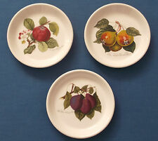 SET OF THREE PORTMEIRION POMONA CHINA PIN DISHES APPLE PEAR PLUM FRUITS