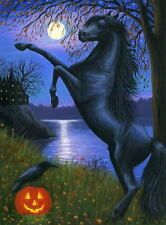 Black horse haunted house lake raven moon Halloween limited edition aceo print