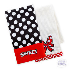 Disney Parks Minnie Mouse Sweet Kitchen Dish Towel Set of two Towels Mickey