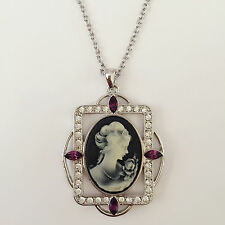 New Vintage Style Lady Cameo Lavender Black Charm Pendant Charm Necklace N1394