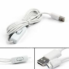1.5m USB Poder Suministro Charging Cable ON/OFF Switch Para Raspberry Pi Blanco