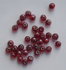 50 of: 6mm round lustered glass beads, red, for jewellery making and crafts