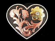 """Western Equestrian Decor Copper Heart Gold Flower W/Crystal 1 1/2"""" Concho"""