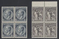 Australia Sc 247, C6 MNH. 1949 Air Mail + 1952 KGVI, blocks of 4 F-VF