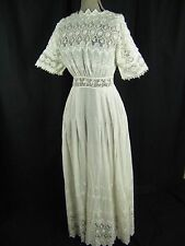 Antique Edwardian 1900s White Crochet Lace Cotton Tea Dress-Bust 42/XS