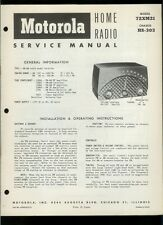 Rare Original Factory 1952 Motorola 72XM21 AM FM IF Table Radio Service Manual