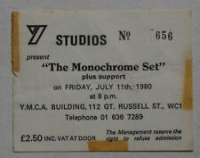 Monochrome Set Rare 1980 Concert Ticket New Wave Punk