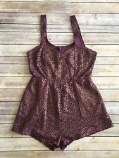 Free People Beach Crochet Romper Size M Purple Gold Cover Up Lace Metallic