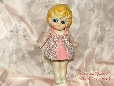 ANTIQUE JAPAN BISQUE FROZEN CHARLOTTE JOINTED ARMS MINIATURE FLOWERS DRESS DOLL