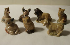 WADE PORCELAIN WHIMSIES x 7 GIRAFFE OWL CAT COW LION BUSHBABY FAWN 70's 80's