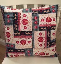 ❤️Christmas Rose & Hubble Green Red Patchwork Scandinavian Cushion Cover❤️