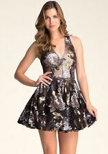 NWT bebe black silver gold sequin halter sequin fit flare top dress S small 4