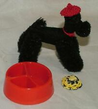 Vintage STEIFF Toy Doll Posable POODLE dog with dog dish & 2 hand knit caps