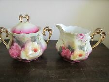 Antique Handpainted Germany Creamer And Sugar Bowl Roses
