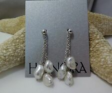 HONORA PEARL TRIPLE STRAND DROP EARRINGS WHITE  KESHI EARRINGS NEW