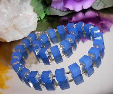 AUSGEFALLENES Würfel Collier Blau mit HOLOGRAMM Quadraten Silber / Würfelkette
