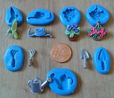 NEW SET OF 7 GARDENING THEMED MOULD MOLD SUGARCRAFT FIMO POLYMER CLAY