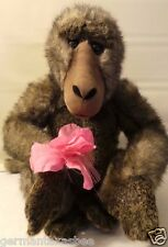 "2000 Animal Alley 12"" Plush Monkey  holds pink flower Geoffrey Toys'R Us real"