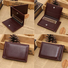 New Mens Leather Bifold ID Credit Card Holder Purse Billfold Wallet Money Clip