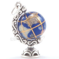 Gemstone 3D WORLD GLOBE School Travel Pendant Charm Sterling Silver SPINS! 925