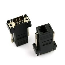 2 x VGA Extender Male Adapter To LAN CAT5 CAT5e CAT6 RJ45 Network Cable Female