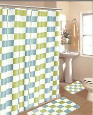 15PC BLUE GREEN CHECKERS  BATHROOM BATH MATS SET RUG CARPET SHOWER CURTAIN HOOKS