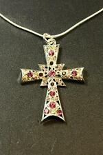 LADIES BOLD PINK / PURPLE STONED SILVER STATEMENT  CROSS NECKLACE UNIQUE(CL15)