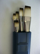 5 PCS SYNTHETIC ARTIST BRUSHES OIL/ACRYLIC #2-4-6-8-12  + BRUSH CASE