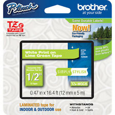 Brother TZeMQG35 12mm white on lime green P-Touch tape PT D200 D400 2730 2730VP