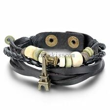 Mens Womens Eiffel Tower Braided Leather Cord Rope Strap Bracelet Wristband