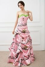 New Pink Camo Wedding Dresses Ball Gown Lace Up Camouflage Bridal Gowns Custom