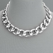 Rhodium Silver Cuban Link Thick Urban Chain Choker Style Necklace