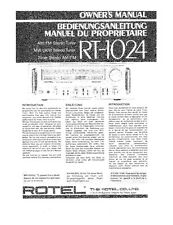 Rotel RT-1024 Tuner Owners Manual