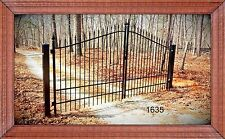 Ornamental Iron Driveway Entry Gate 14 FT Wide Dual Swing, Fencing, Handrails.