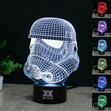 White Storm Trooper 3D LED Night Light 7 Color Change Table Desk Lamp Gifts OEM