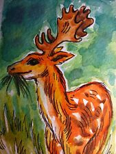 Deer Antler Food Meadow Grass Nature Wildlife Animal Collectible ACEO Art Card