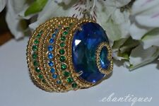 Vintage Signed Corocraft Coro Blue & Green Rhinestone Brooch / Pin