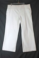 NEW ADDITIONS Jeans Maternity Wide Leg Trouser LARGE White Denim Demi Panel