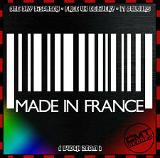Made In France Barcode Car / Van Decal Bumper Novelty Sticker PUG - 17 Colours