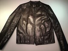 Gucci Men's Leather Biker Jacket Dark Chocolate