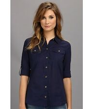 Lilly Pulitzer Cruiser Shirt Top in Navy Blue button down cotton lawn $98 Sz 0.