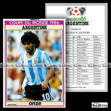 ARGENTINE - World Cup MEXICO 86 (Photo : DIEGO MARADONA) - Fiche Football 1986