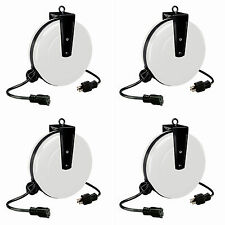 Case of 4 30'  Retractable Steel Extension Cord Reel 1 Outlet Alert 5000A-30GF-S