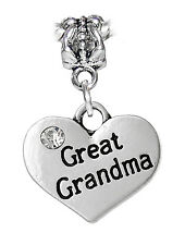 Great Grandma Heart Rhinestone Gift Dangle Bead for European Charm Bracelets