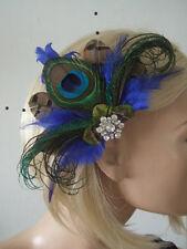 """Royal Azul Marrón Verde Pavo Real Faisán Plumas Fascinator de la pinza de pelo """"Reena"""""""