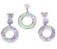 Pink Opal Circle .925 Sterling Silver Pendant & Earrings Set