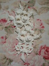 Shabby & Chic Rose Floral & Bow Center Furniture Applique Architectural Onlay
