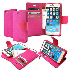 Canvas Diary Flip Leather Wallet Case Cover For iPhone 4S 5 5S 6 6S 7 Plus Lot