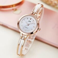 Delicate Womens Fashion Dress Rose Gold Imitation Agate Quartz Bracelet Watches