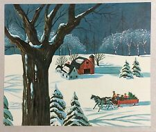 People Horse Drawn Sleigh Farm Tree Glitter 50's Vintage Christmas Greeting Card